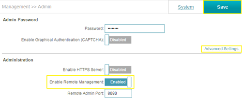 enable Remote Management service in the Dlink router